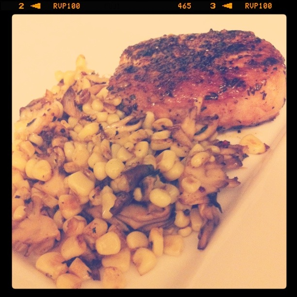 herb crusted pork chop and corn mash up